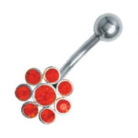 Navelpiercing 925 zilver Flower Power