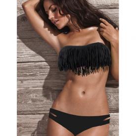 Fringe Bikini Strapless Zwart