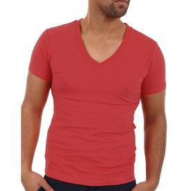 Wasabi Heren Shirt V hals Rood