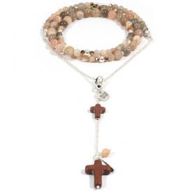 Heaven Eleven ketting Verzilverd Sunstone Cross