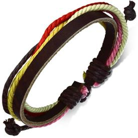 Leren armband met touw Multicolor