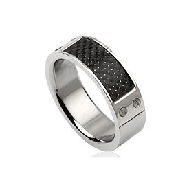 Heren ring RVS Carbon