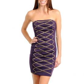 Strapless jurk Purple fashion