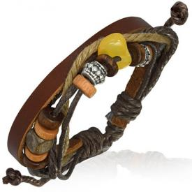 Leren armband Brown Leather With Karma Beads